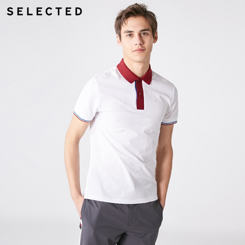 SELECTED Men's Striped Turn-down Collar Short-sleeved T-shirt S|419106514