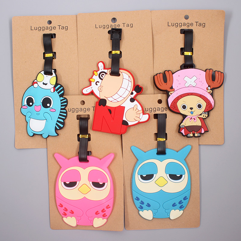 Cute Cow & Owl Animals Luggage Tag Travel Accessories Silicone Suitcase ID Addres Holder Baggage Boarding Tag Portable Label