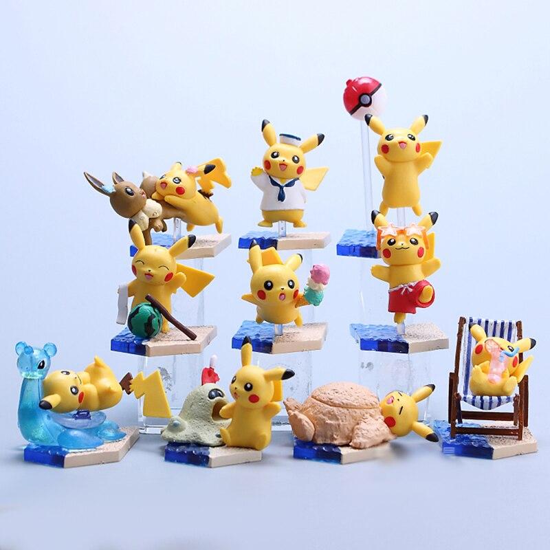 Takara Tomy 10pcs/set Pikachu Blind Box Action Figure Pokemon Pocket Monster Doll Ex Elf Ball Children Gifts Toy
