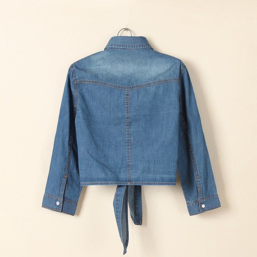 H9703a74ae8484eb48528090efb36fd080 Women Summer Denim Jacket Knotted Casual Solid Buttons Sleeve Top Plus Size Short Pocket Fashion Jacket Feminina Ladies Coats