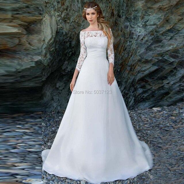 2021 어깨에서 벗어난 해변 웨딩 드레스 긴 소매 레이스 아플리케 신부 웨딩 드레스 버튼 환상 Vestido De Noiva