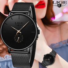 LIGE Women Watches Top Brand Luxury Casual Fashion Watch Women Quartz Waterproof Clock Mesh belt Ladies Wristwatch Ladies Clock
