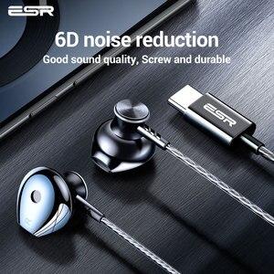 Image 4 - ESR סוג C ממשק Wired אוזניות נייד אוניברסלי רעש ביטול אוזניות HIFI קול ספורט אוזניות לxiaomi Huawei