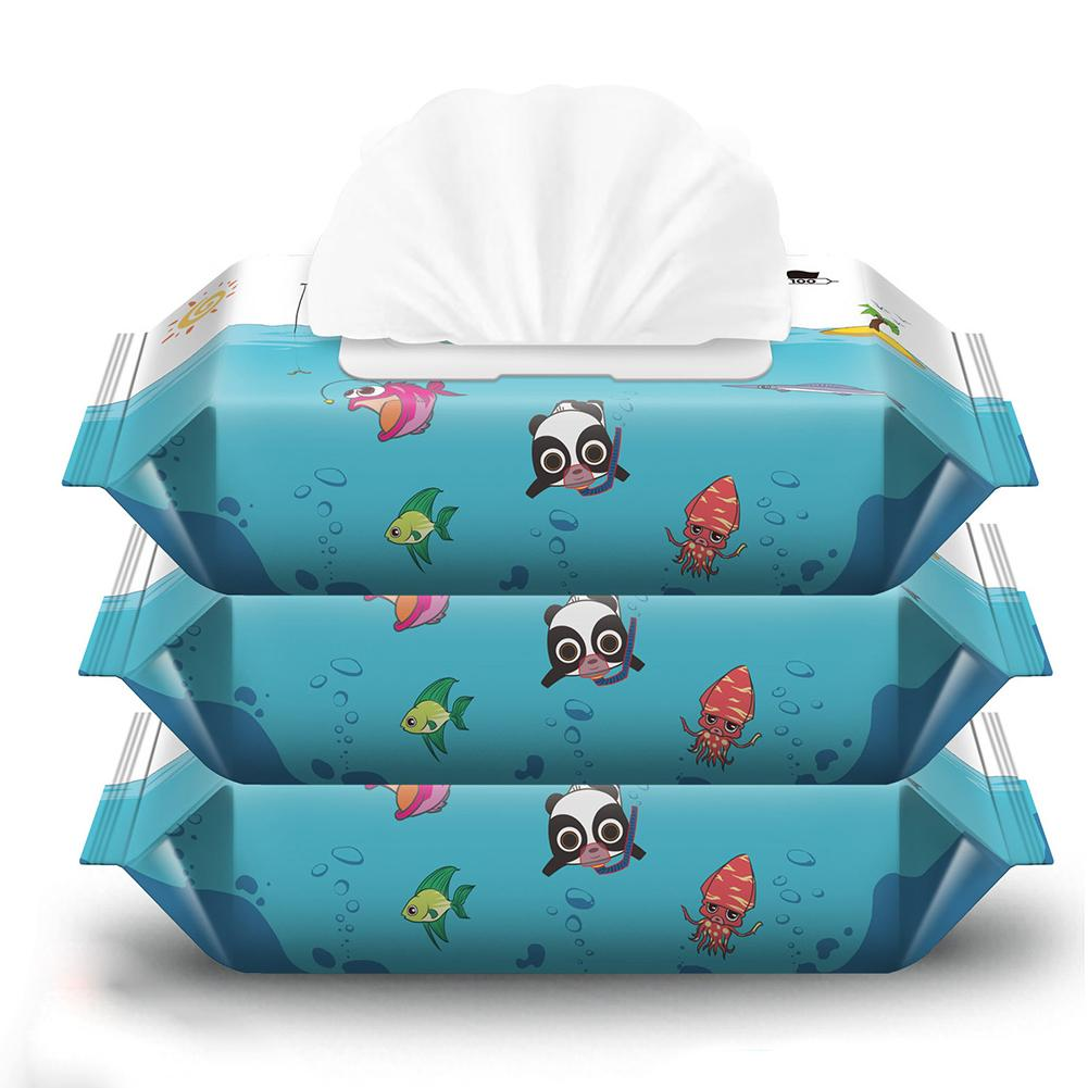 60 Sheets Portable Disposable Baby Wet Wipes Hand Mouth Cleansing Napkin Tissue Mild And Safe Enough For Babies Suitable Daily