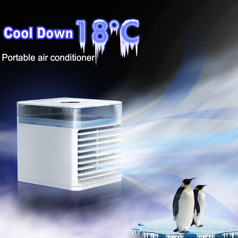 Portable Air Conditioner Household Multifunctional Humidifier Purifier USB Desktop Air Conditioner Fan with UV Germicidal Lamp