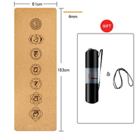 Cork TPE Yoga Mat Pilates Fitness Anti Slip Odorless 1830*610*4MM Natural Cork Eco Friendly Workout Chakra Patter Pads With Gift