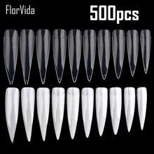 FlorVida 500 шт половинчатые накладные ногти, белые натуральные прозрачные накладные ногти, Пластиковые Длинные накладные ногти для маникюрного салона