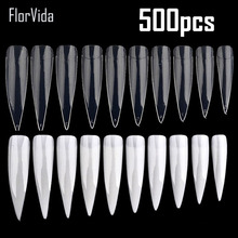 FlorVida 500pcs Half Nail Tips White Natural Transparant False Nails Plastic Long Fake for Art Manicure Salon