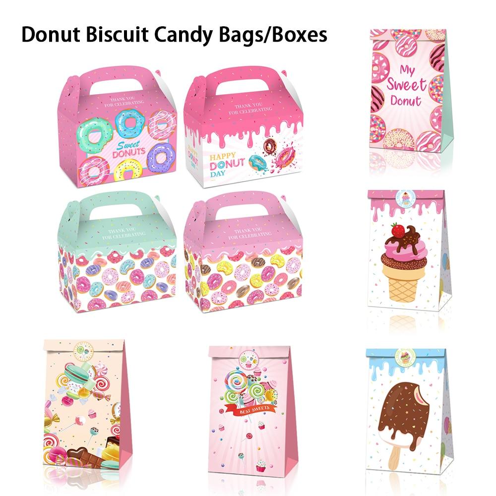6/12 stücke Lebensmittel Cookies Verpackung Papier Taschen Glücklich Ostern Papier Tasche Donut Candy Taschen Goodie Bags Geschenk Taschen Mit Aufkleber