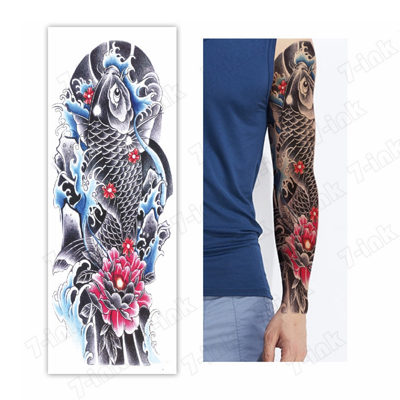 Temporary Tattoo Sticker Ukiyo-e Carp Koi Fish Lotus Flower Skull  Full Arm Flash Tattoos Sleeve  Fake Tattoo For Men And Women