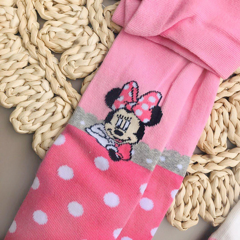Disney Mickey Mouse Pattern Tights For Girls Cute Pink Cotton Knitted Pantyhose Stockings For Babys Infant Tights For 2-10Y New 2
