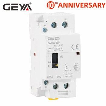 цена на GEYA GYHC 2P 40A 63A 2NO OR 2NC Household Modular DIN Rail Mounting AC Contactor  AC220V 230V Manual Control