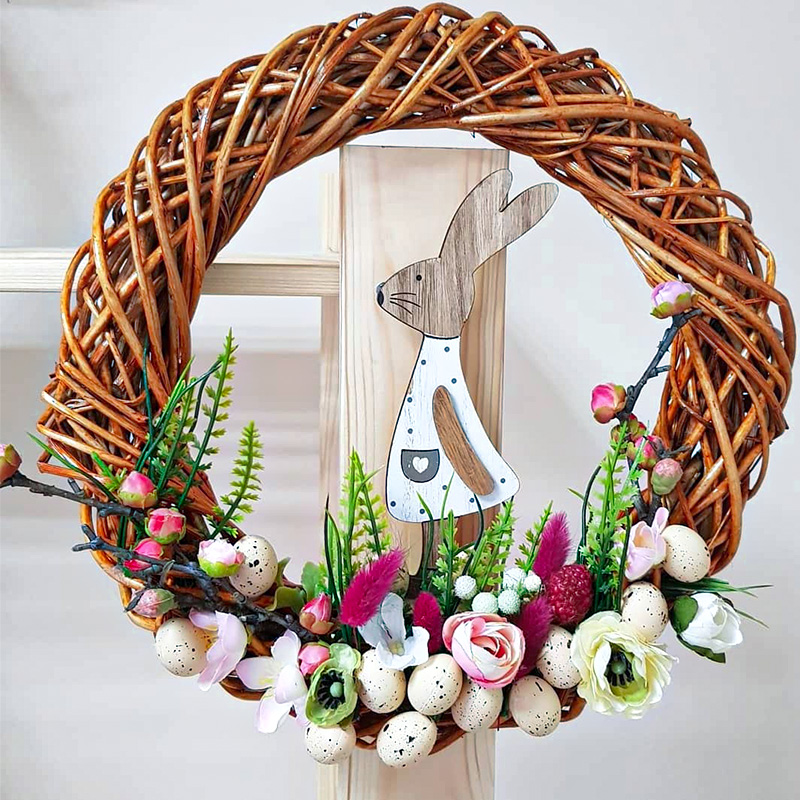 Happy Easter Egg Mini Foam Eggs Decoration Rattan Wreath For Home Party DIY Craft Kids Gift Favor Easter Decoration Supplies