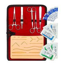 Pele conjunto de sutura kit treinamento pele operar sutura prática modelo silicone almofada de treinamento agulha scissor kit de recursos de ensino