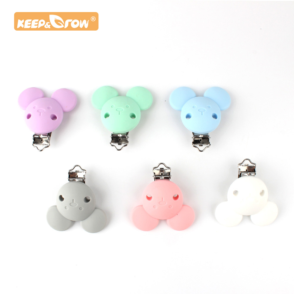 Keep&Grow 10pcs Pacifier Clip Micky Silicone Teether Metal Silicone Rodent Accessories DIY Baby Teething Necklace Pendant Clamp