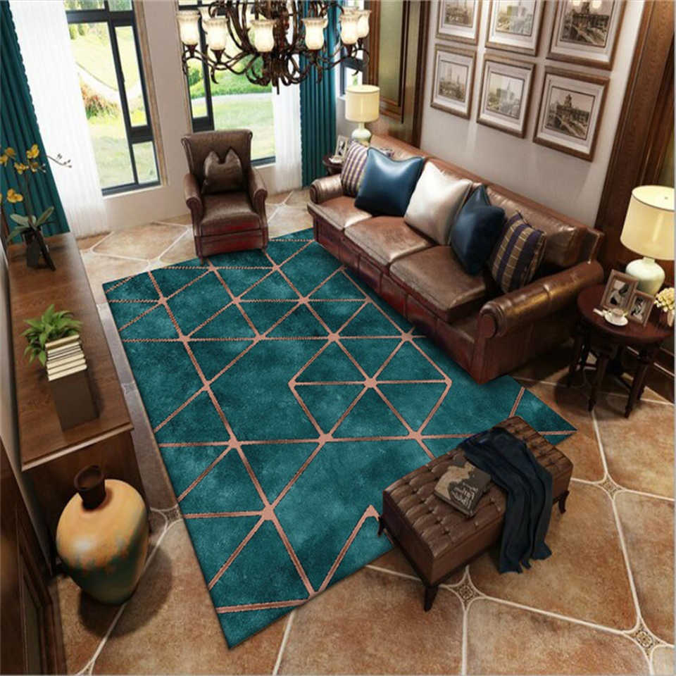 American Style Green Carpet Large Modern Living Room Rug Luxury Carpet  Turquoise Color Golden Geometric Pattern Carpet Rugs