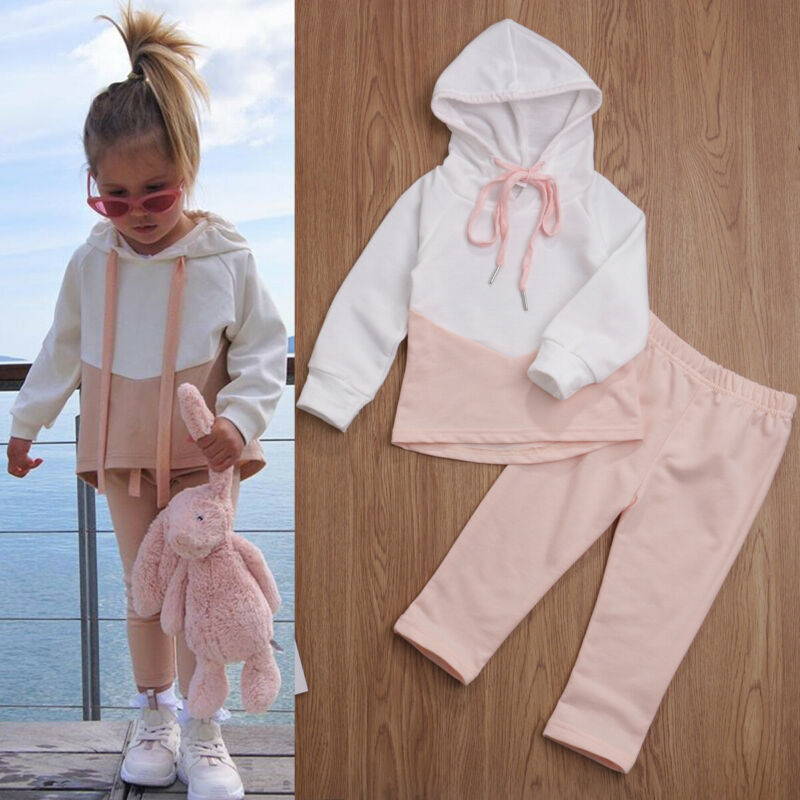 1-4 Years Baby Girls Hooded Outfits Pink Patchwork Hooded Sweatshirt Long Pants Girls Outfits Tracksuits For Girls Clothing Set