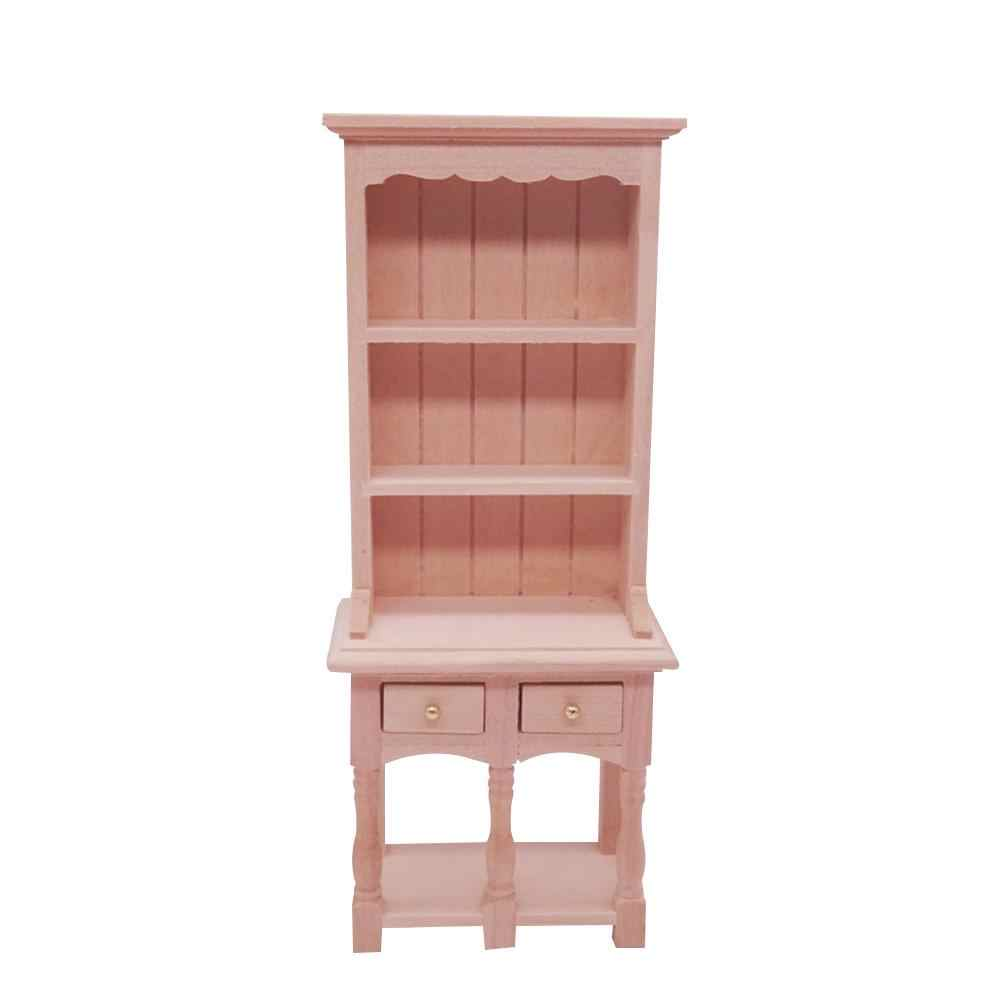 1//12 Dollhouse Miniature 3-layer Stroage Cabinet Model Craft Accs Wood Color