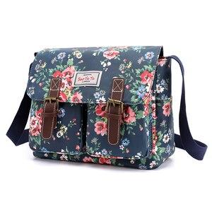 Image 1 - Bolso de hombro con estampado de flores para mujer, bandolera de nailon resistente al agua, Retro