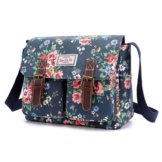 Bolso de hombro con estampado de flores para mujer, bandolera de nailon resistente al agua, Retro