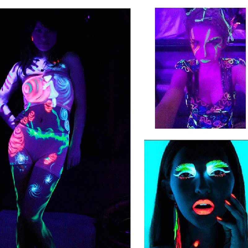 Body Art Paint Neon Fluorescent Party Festival Halloween Cosplay Makeup Kids Face Paint Uv Glow Painting Body Paint Aliexpress