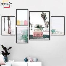 Набор постеров для серфинга пастельный пляжный декор розовая
