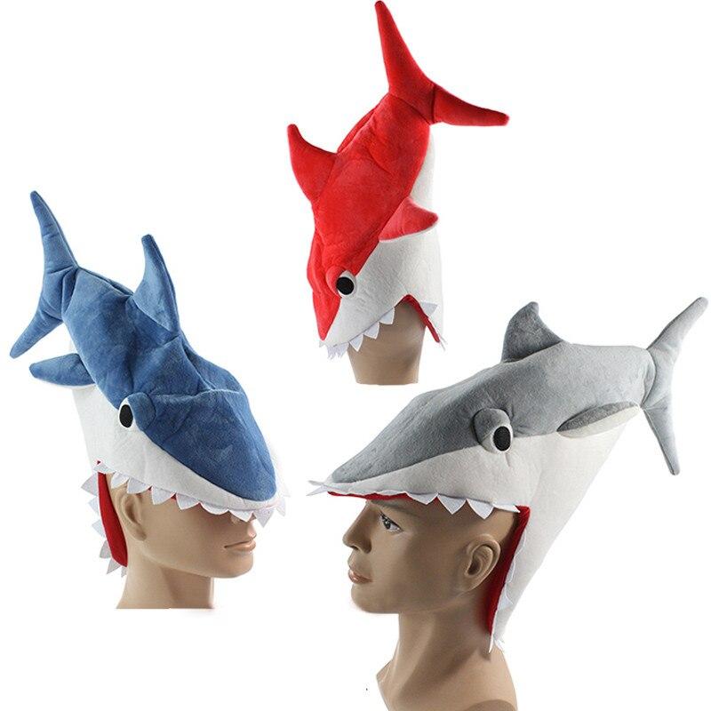Halloween funny originality Aquarium shark piranha fish hat plush toy Stuffed Plush Cap Cosplay Hat for children Adult gift
