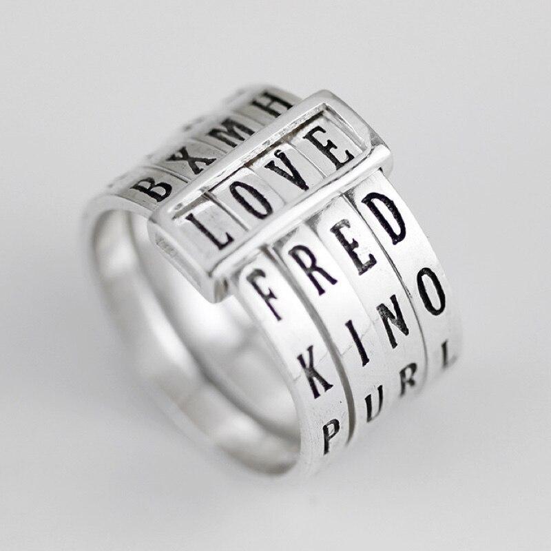 Bagues à breloque pour femmes, Alphabet nom initial différents mots amour lettre anneau 925 bijoux en argent, fête décontracté accessoire de mariage