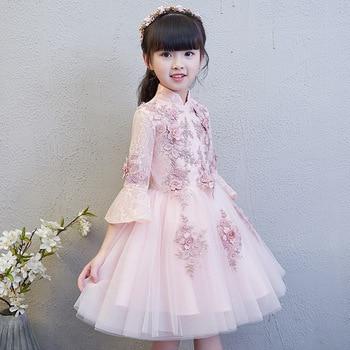 Girl Princess Dress Qipao Wedding Cheongsam Cute Pink Birthday Oriental Evening Dress Traditional Chinese Embroidery Prom Dress