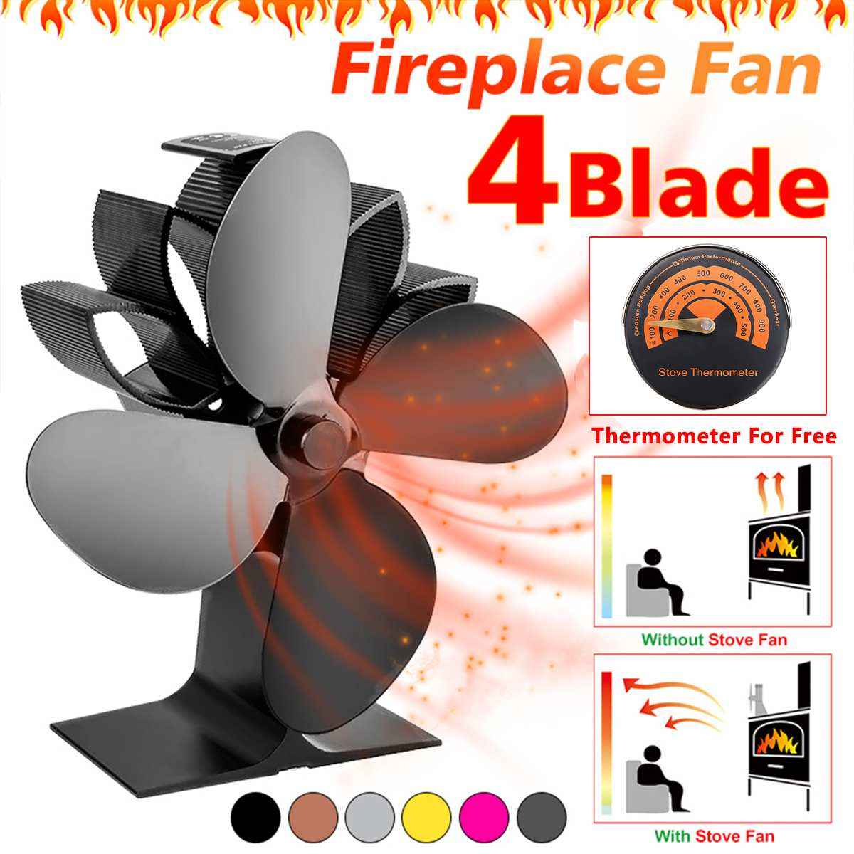 Efficient 4 Blade Heat Powered Stove Fan With Thermometer Log Wood Burner Ecofan Quiet Black Home Fireplace Fan Heat Distributio