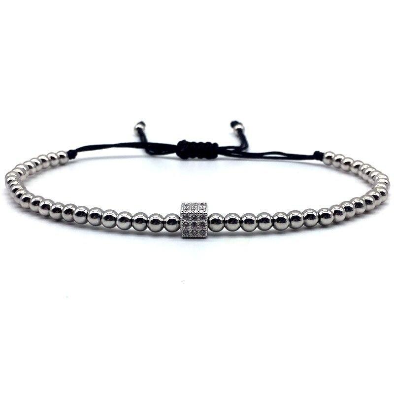 New Fashion Crown Cube Adjustable Men Bracelet 2019 4mm Trendy Handmade Weave Charm Beads Bracelet For Men Jewelry Gift