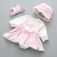 Платье принцессы для новорожденных, для маленьких девочек платье-пачка для девочек с бантом и длинными рукавами милое весеннее кружевное п...