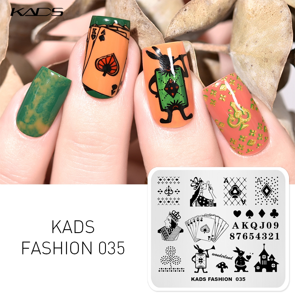 KADS 1PC FASHION Poker Design Nail Stamping Plates Nail Art Stamp Stamping Template Image Plate Stencils Nail Stamping