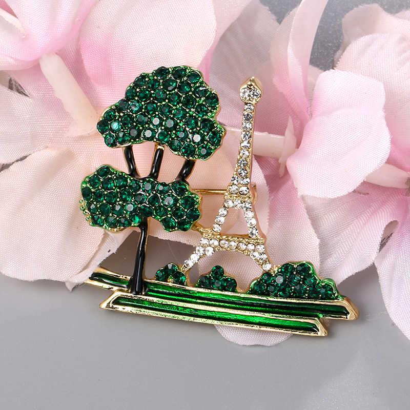 Baiduqiandu di Marca di Nuovo Arrivo Verde Strass Albero e la Torre Eiffel Spilla Spilli per Le Donne Gioelleria raffinata e alla moda Regali