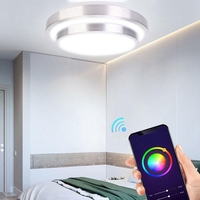 Novo 60 w rgb luz de teto wi fi controle voz inteligente viver conduziu a lâmpada luz teto  para amazon alexa para casa do google  AC85 265V|Luzes de teto| |  -