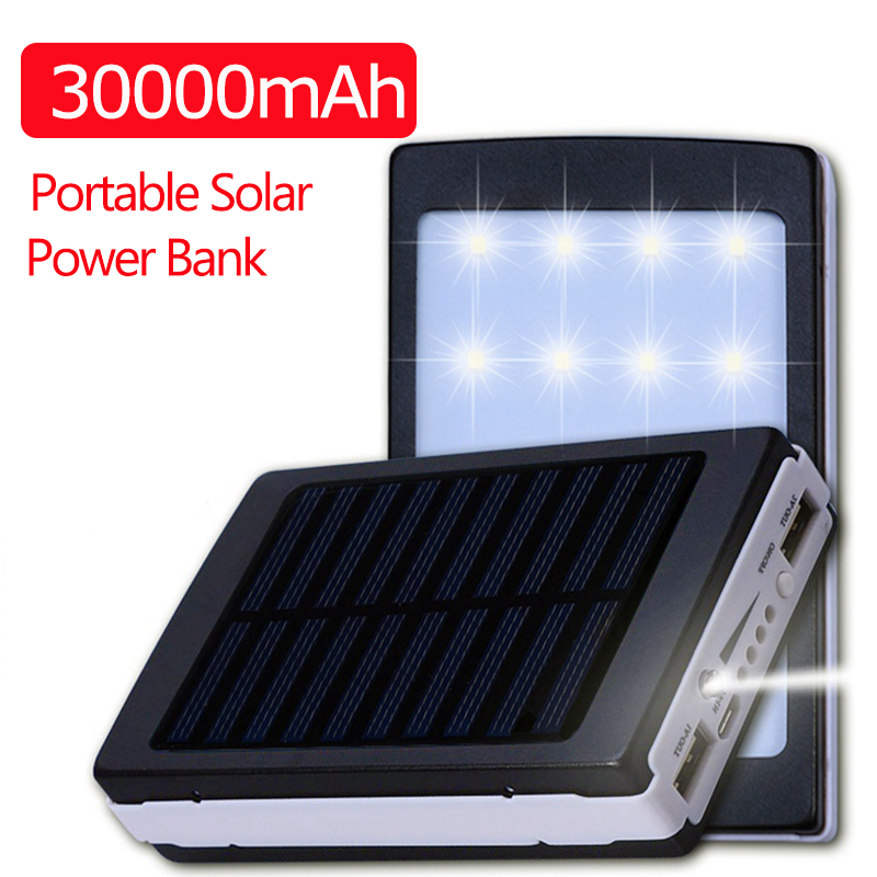 30000mAh Solar Power Bank Waterproof Dustproof Double USB Output LED Flashlight Lighter Lithium Battery for Iphone Xiaomi Huawei|Power Bank| |  - title=