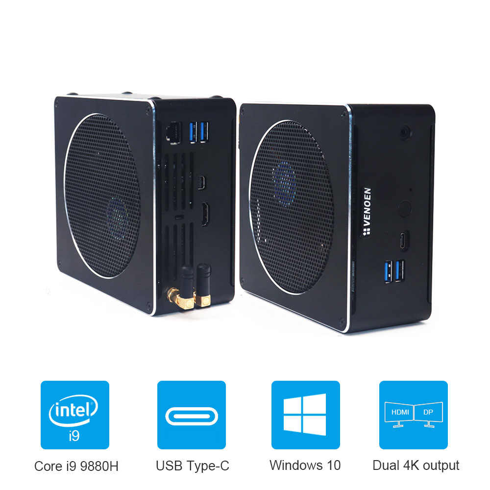 Intel NUC Core I9 9880H 8 Core 16 Benang Mini PC I7 8750H Windows 10 Pro 2.4G + 5.8G Wifi Komputer Desktop HDMI Mini DP Tipe-C