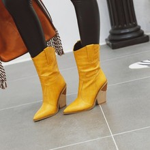 Women mid-calf boots high heels  gladiator pointed toe shoes  winter boots women  fur boots  zapatos de mujer w33 hot sale beautiful women mid calf velvet boots block heeled blue black pointed toe back zip boots party high heels zapatos mujer