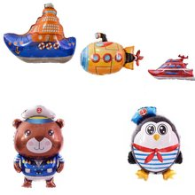 Cartoon Pirate Boat Balloon Big Submarine Ship Foil Balloons Penguin Sailor Animal Ballon Baby Shower Boy Birthday Deco Kids Toy(China)