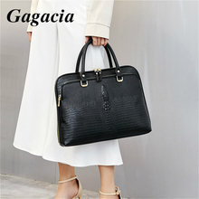 GAGACIA Fashion Business Women's Handbag Leather Briefcase For Woman Laptop Computer 14 Handbags Ladies Office Work Commuter Bag