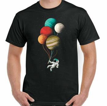 Koszulka Nasa astronauta kosmita balon planety wszechświat kosmos przestrzeń męska koszulka tanie i dobre opinie Podróż TR (pochodzenie) Cztery pory roku Z okrągłym kołnierzykiem SHORT normal COTTON Na co dzień Znak