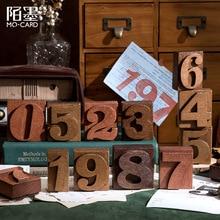 Kawaii Retro Number Stamps For Scrapbooking Wodden Rubber Stamp Seal Card School Office Supplies Bullet Journal sl2837
