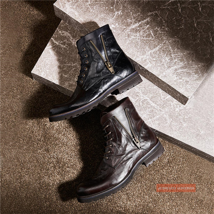 Cowskin Shoes Handmade Men Boots Fashion Shoes Classic Wild Stylish Unquie Boots (3)