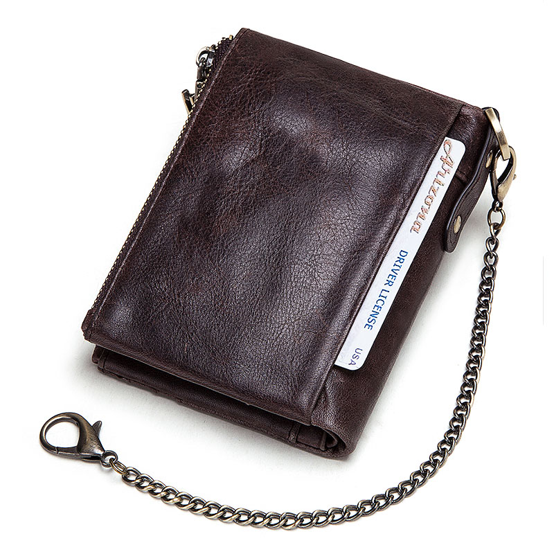 Free Engraving 100% Leather Rfid Wallet Men Crazy Horse Coin Purse Short Male Card Holder Chain PORTFOLIO Portomonee Male Walet