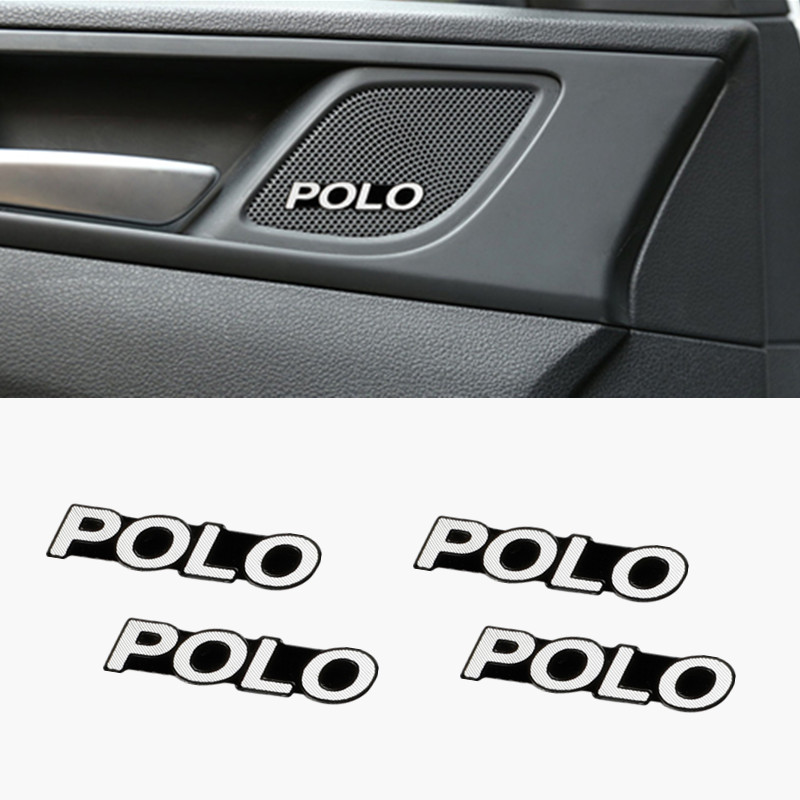 4pcs 3D aluminum <font><b>speaker</b></font> stereo <font><b>speaker</b></font> badge emblem Sticker for Volkswagen VW Polo <font><b>Passat</b></font> <font><b>B6</b></font> B7 Touaregu Tiguan Beetle Golf image