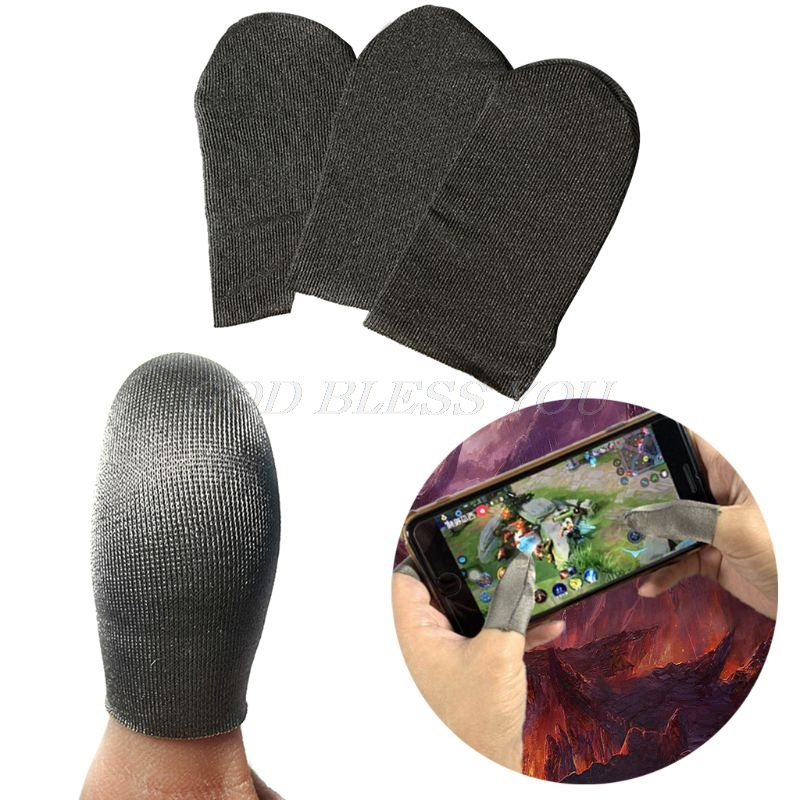 1 Pair Sweat Proof Fiber Finger Cover Breathable Gaming Finger Gloves Protective Sleeve For IPhone An-droid Mobile Phone