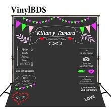 цены VinylBDS Custom Wedding Colorful Name Date Photocall Photography Studio Wedding Photo Backdrops Chalk Backdrop Blackboard Photo