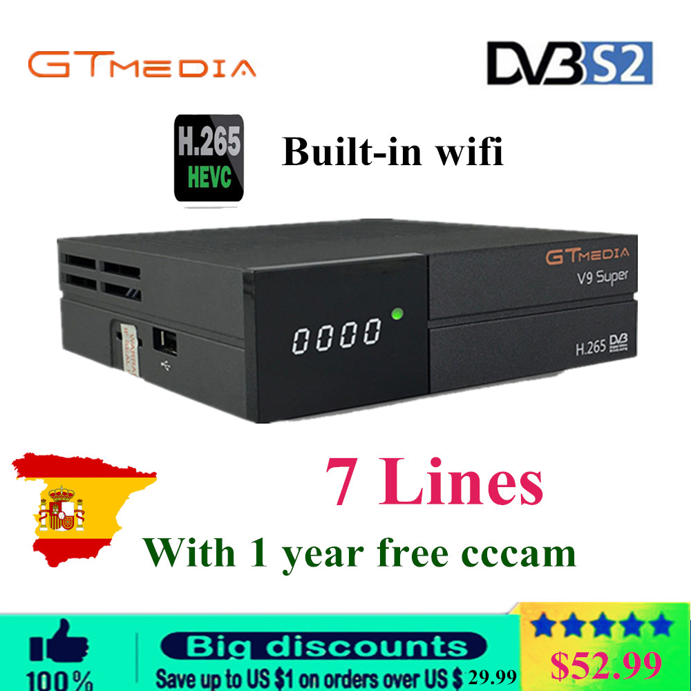 GTMedia V9 Super Satellite Receiver Bult in WiFi with cccam 7 lines for 1 year Europe Full HD DVB S2/S Freesat V9 Super Receptor-in Satellite TV Receiver from Consumer Electronics    1