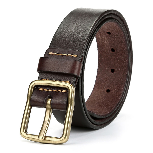 2020 Cow Luxury Genuine Leather Belt Men Vintage Leather Belts Men's Jeans Strap Black Color Wide Strapping Waistband Brown Belt