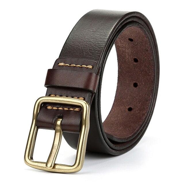 2020 vache de luxe en cuir véritable ceinture hommes vintage en cuir ceintures hommes jean sangle couleur noire large cerclage ceinture marron ceinture